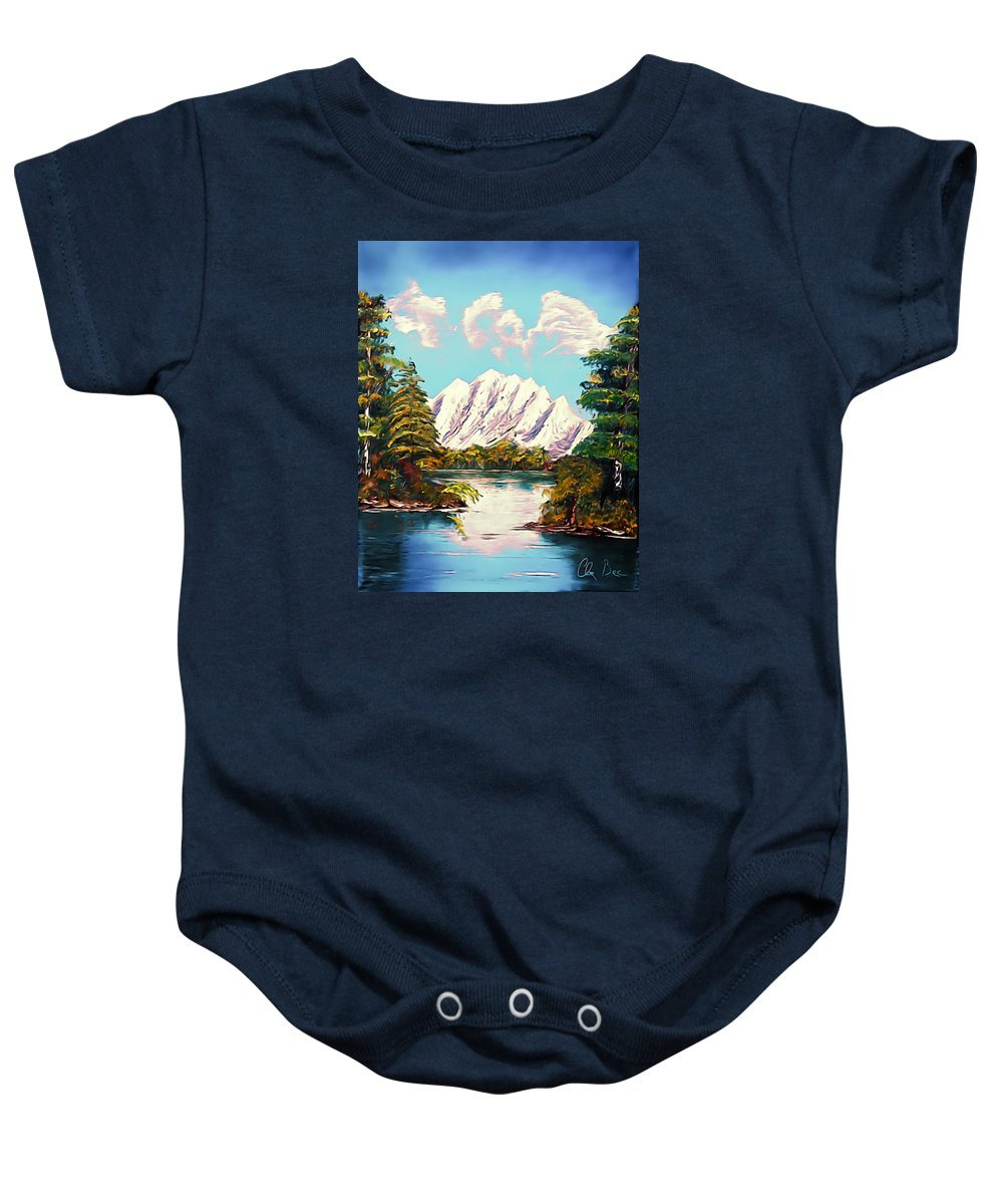 Canada Baby Onesie featuring the painting Blue Lake Mirror Reflection - Elegance With Oil by Claude Beaulac
