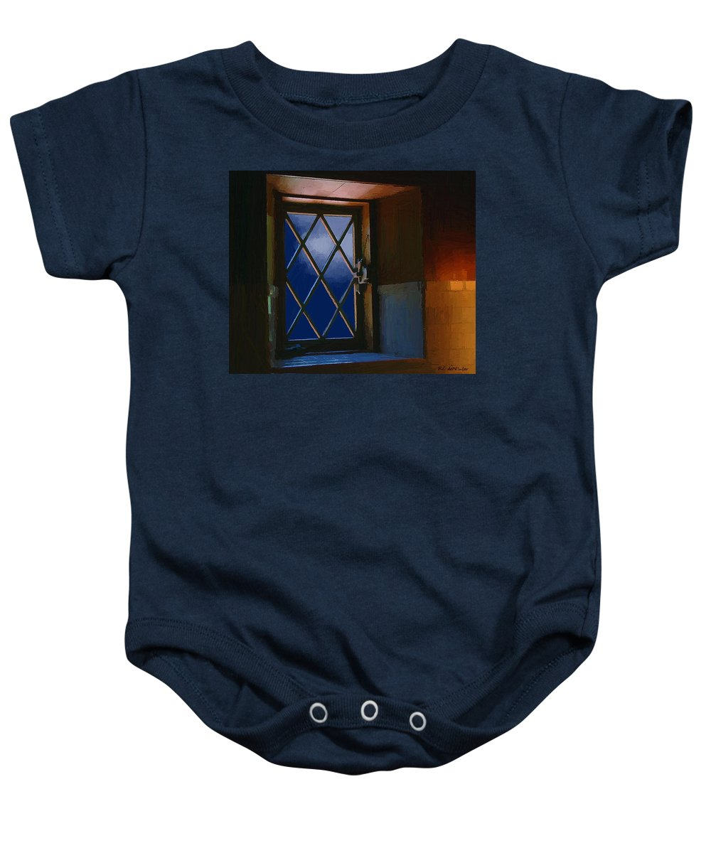 Window Baby Onesie featuring the painting Blue Night Through Casement by RC DeWinter