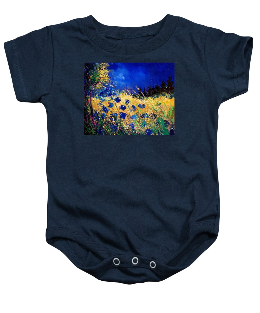 Flowers Baby Onesie featuring the painting Blue Poppies 459070 by Pol Ledent