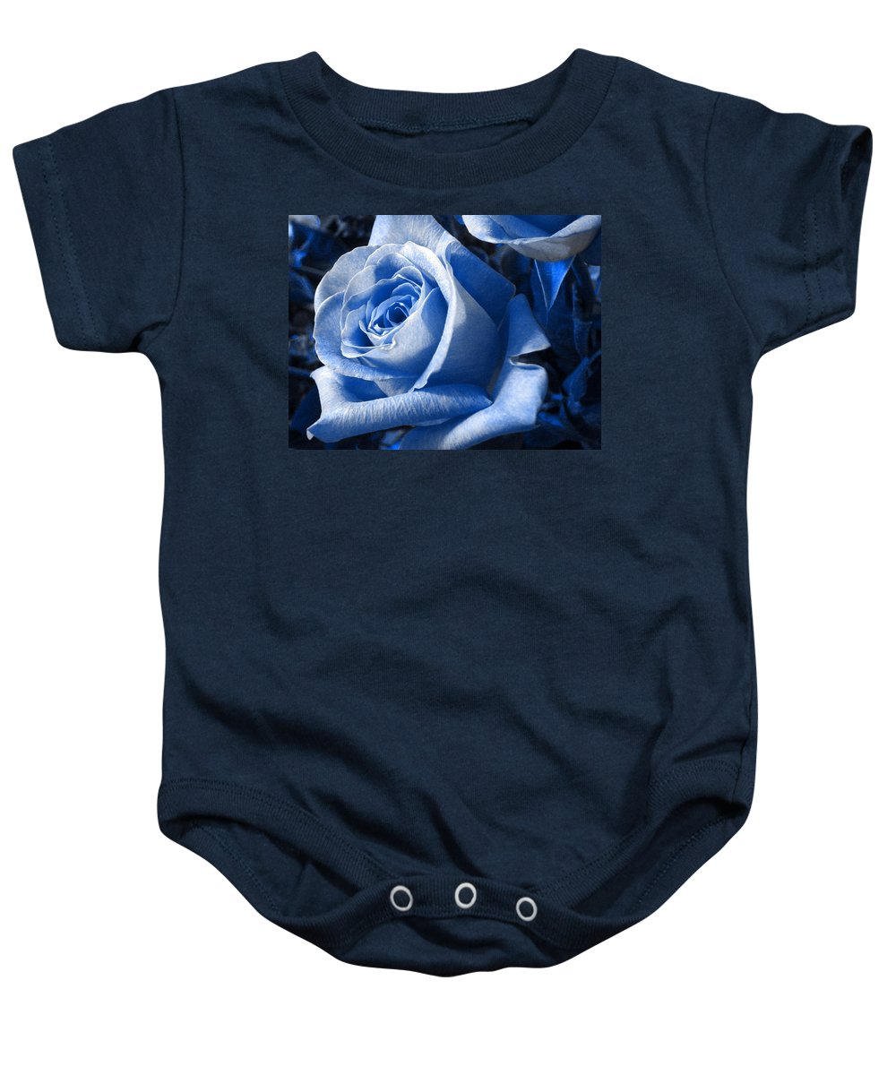 Blue Baby Onesie featuring the photograph Blue Rose by Shelley Jones