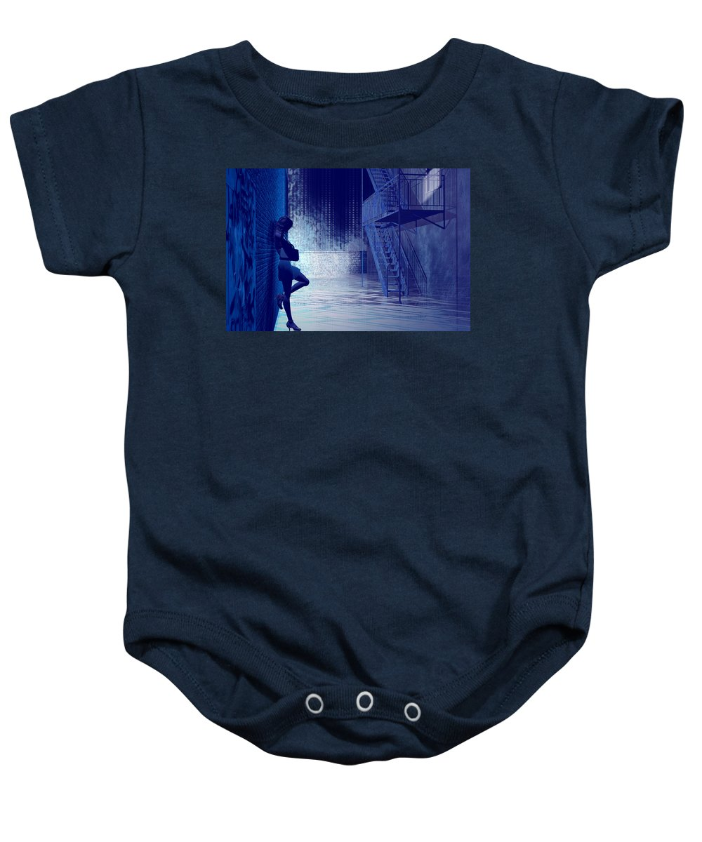 Alley Baby Onesie featuring the digital art Blues In The Night by Carol and Mike Werner