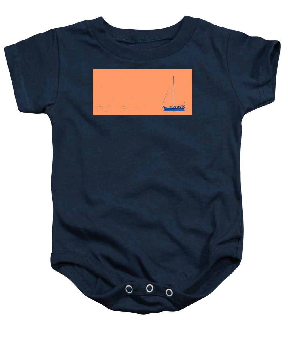 Boat Baby Onesie featuring the photograph Boat On An Orange Sea by Ian MacDonald