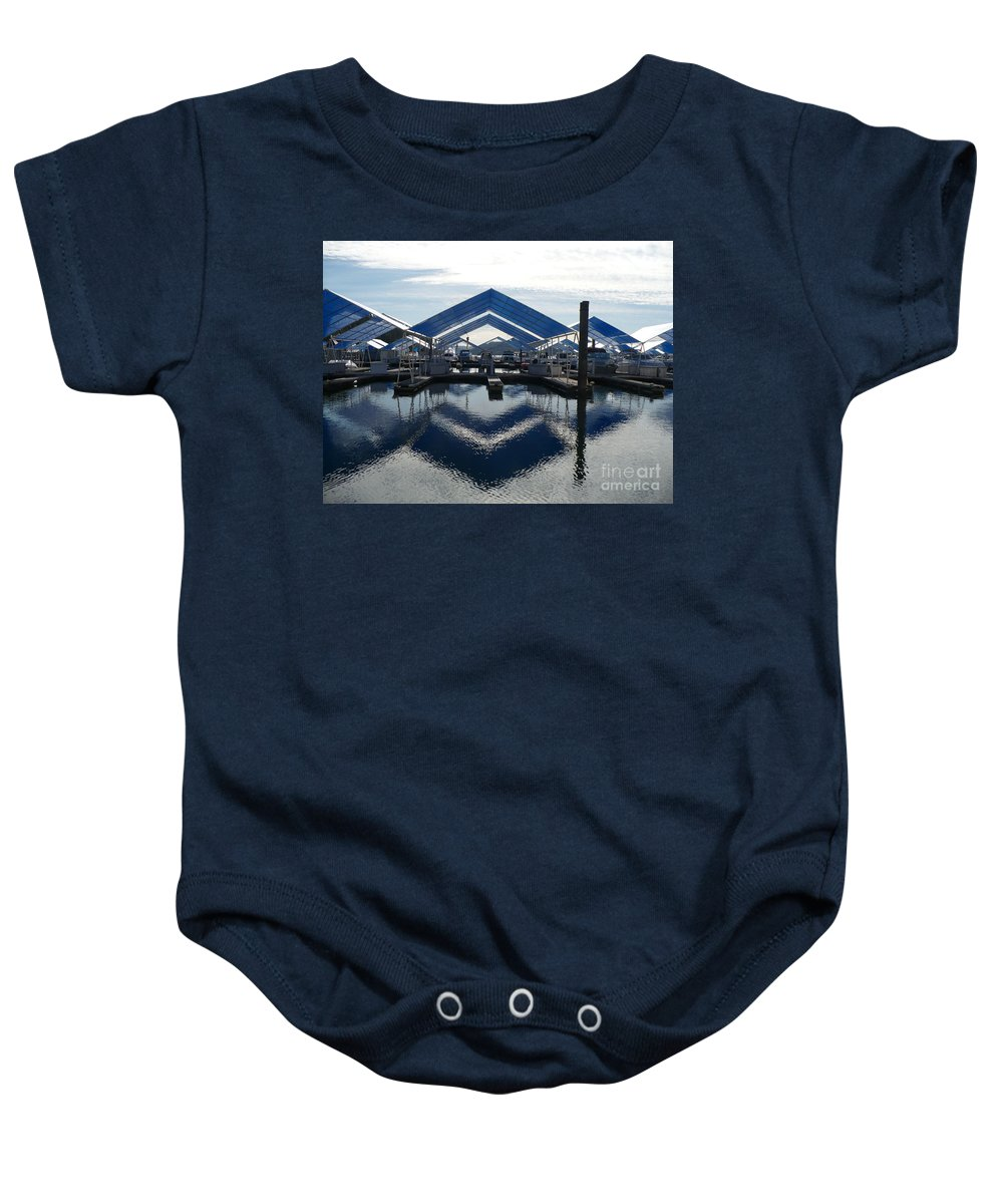 Boats Baby Onesie featuring the photograph Boat Reflection On Lake Coeur D'alene by Carol Groenen