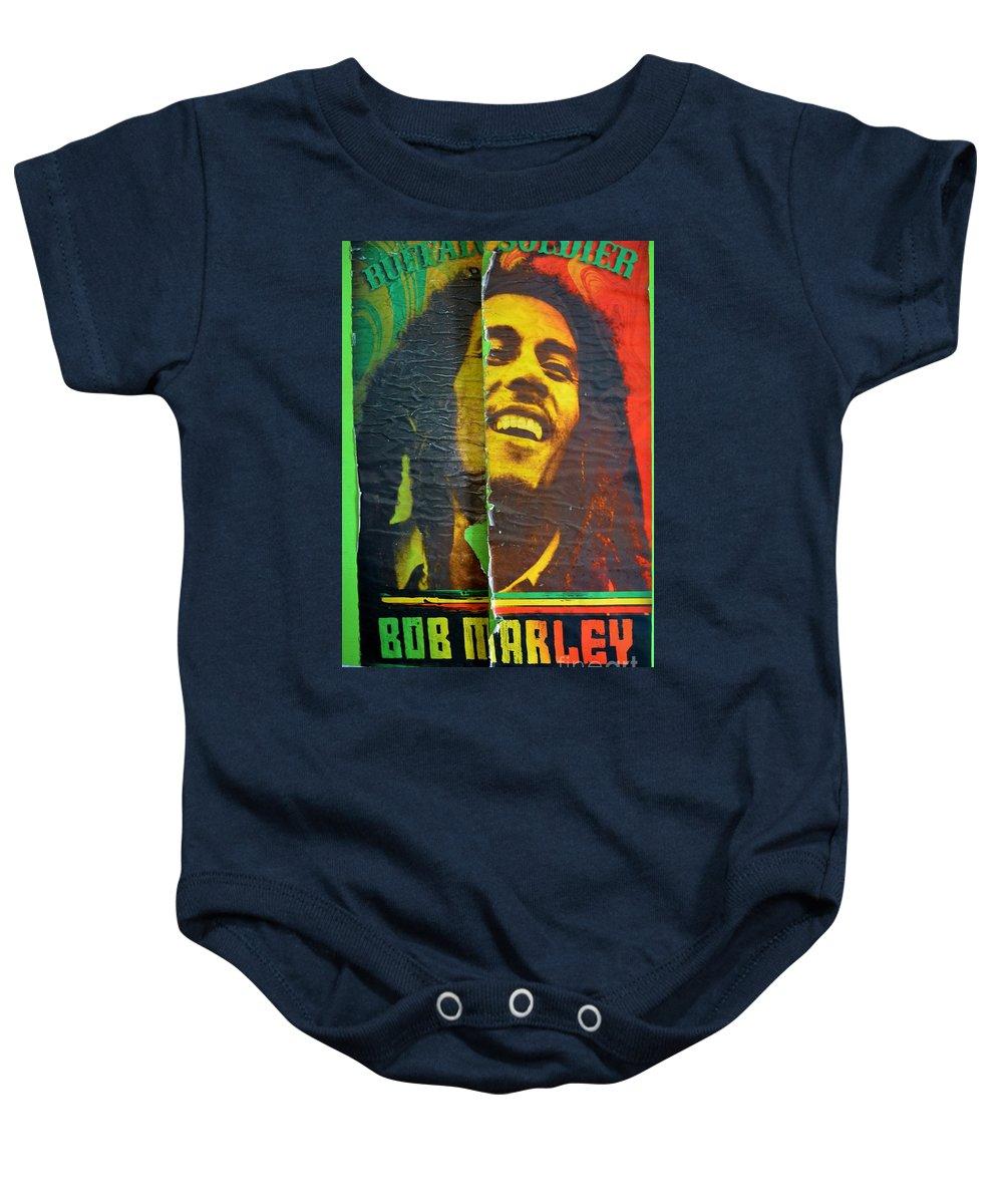 Bob Marley Baby Onesie featuring the photograph Bob Marley Door At Pickles Usvi by Tamara Michael