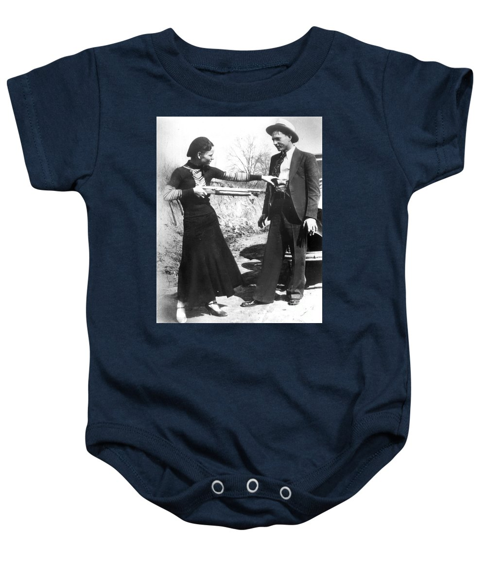 1933 Baby Onesie featuring the photograph Bonnie And Clyde, 1933 by Granger