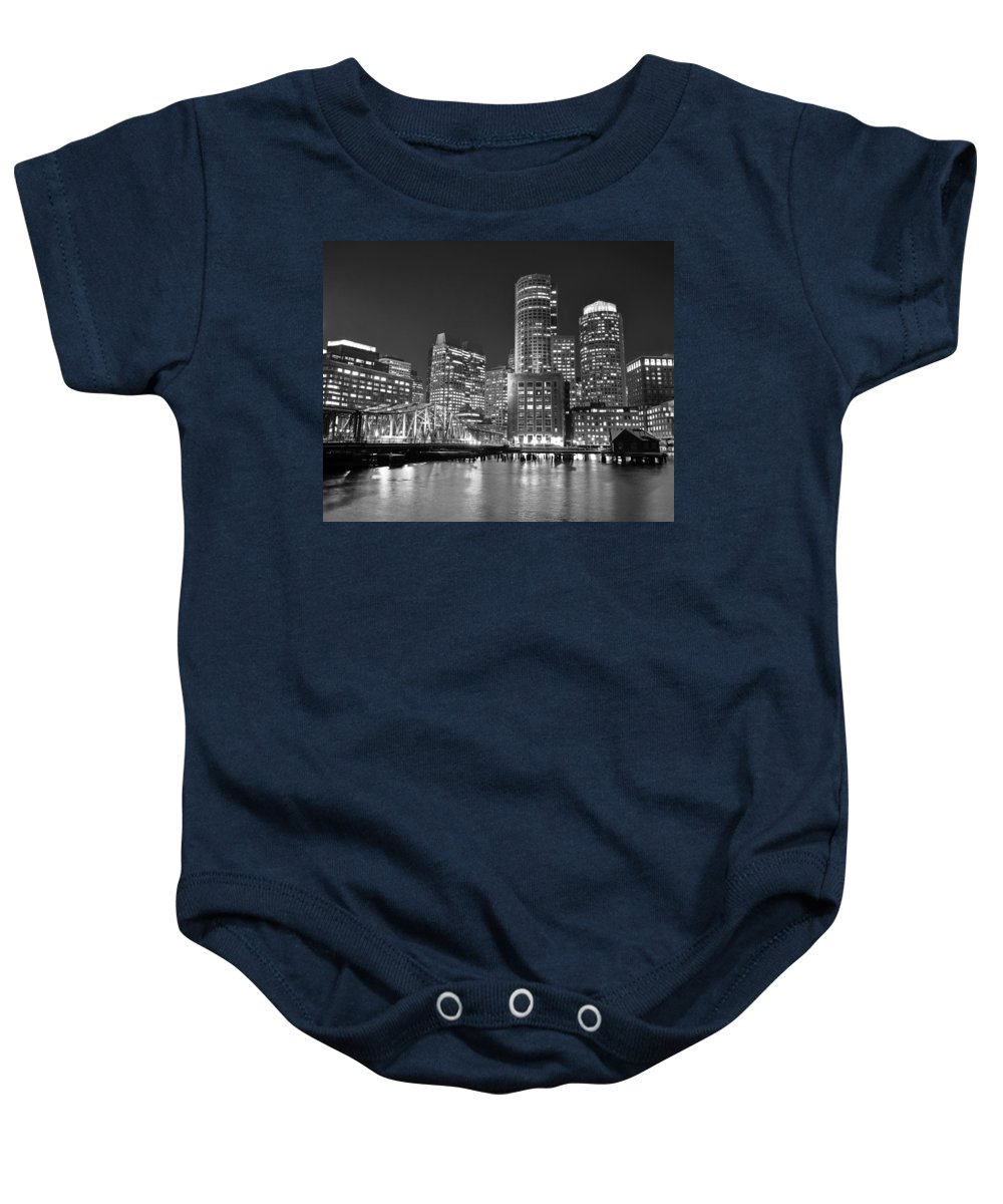 Prudential Baby Onesie featuring the photograph Boston Waterfront Black And White by Toby McGuire