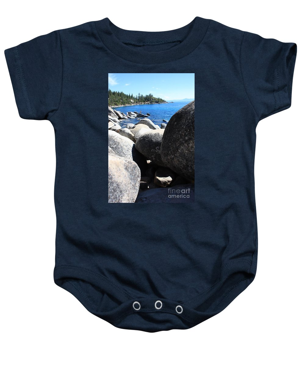 Boulders Baby Onesie featuring the photograph Boulders On Lake Tahoe by Carol Groenen