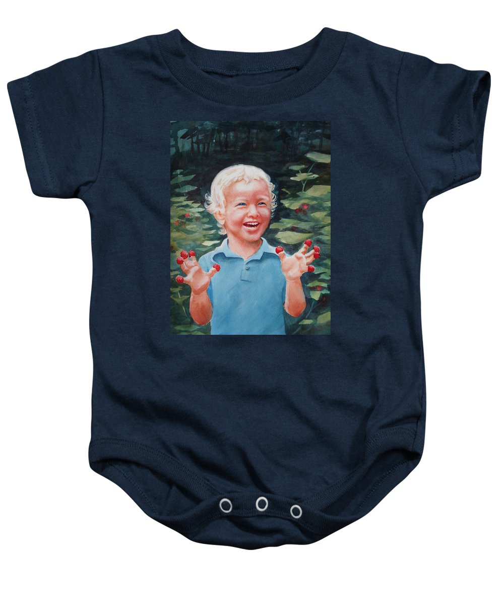 Boy Baby Onesie featuring the painting Boy With Raspberries by Marilyn Jacobson