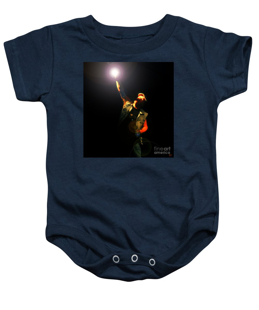 Acdc Baby Onesie featuring the painting Brian Johnson Acdc by David Lee Thompson