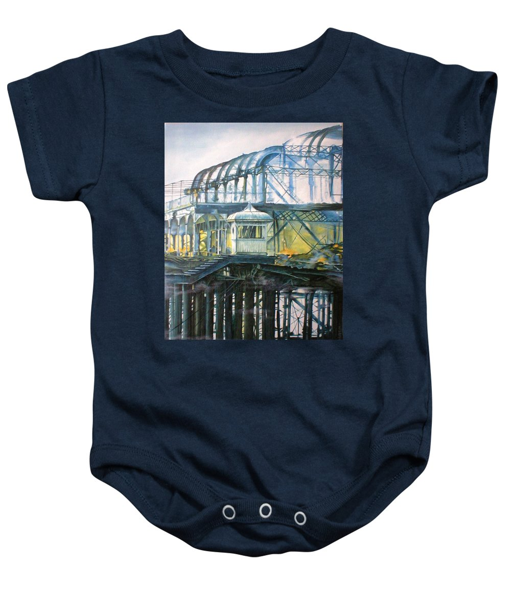 Brighton West Pier Fire Flames Escape Smoke Hut Survivor Arson Baby Onesie featuring the painting Brighton's West Pier-lone Survivor by Pauline Sharp