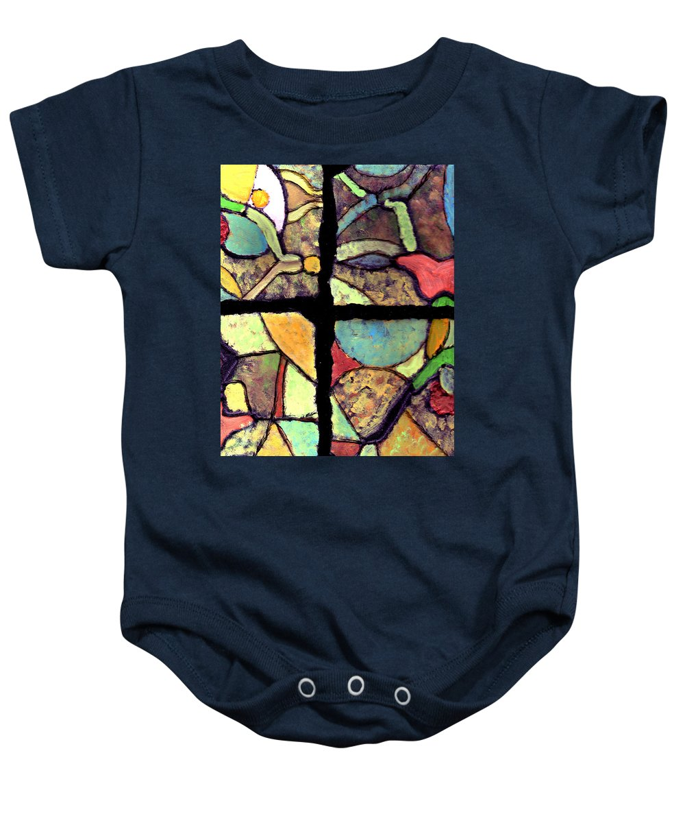 Tiles Baby Onesie featuring the painting Broken Dreams by Wayne Potrafka