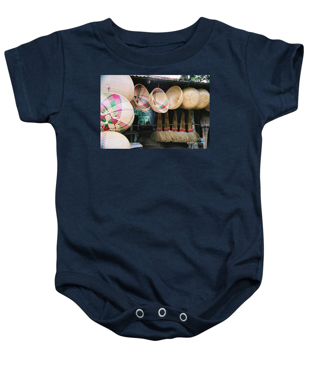 Baskets Baby Onesie featuring the photograph Brooms And Baskets by Mary Rogers