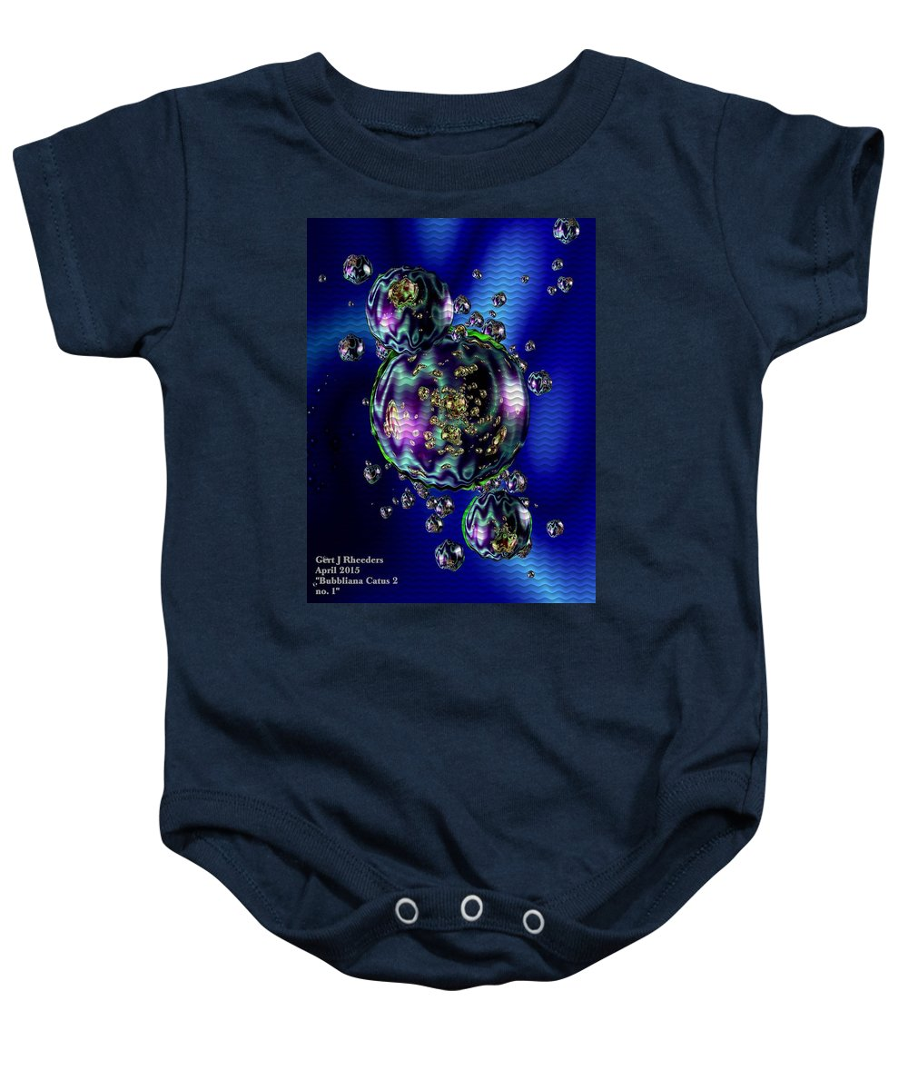 Announcement Baby Onesie featuring the painting Bubbliana Catus 2 No. 5 V B by Gert J Rheeders