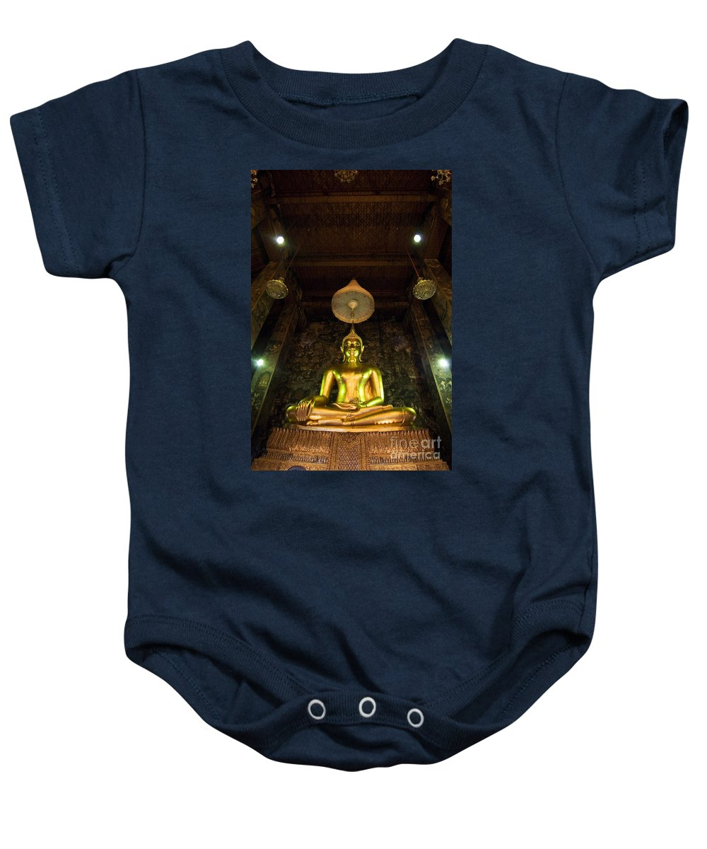 Art Baby Onesie featuring the photograph Buddha Sitting by Ray Laskowitz - Printscapes