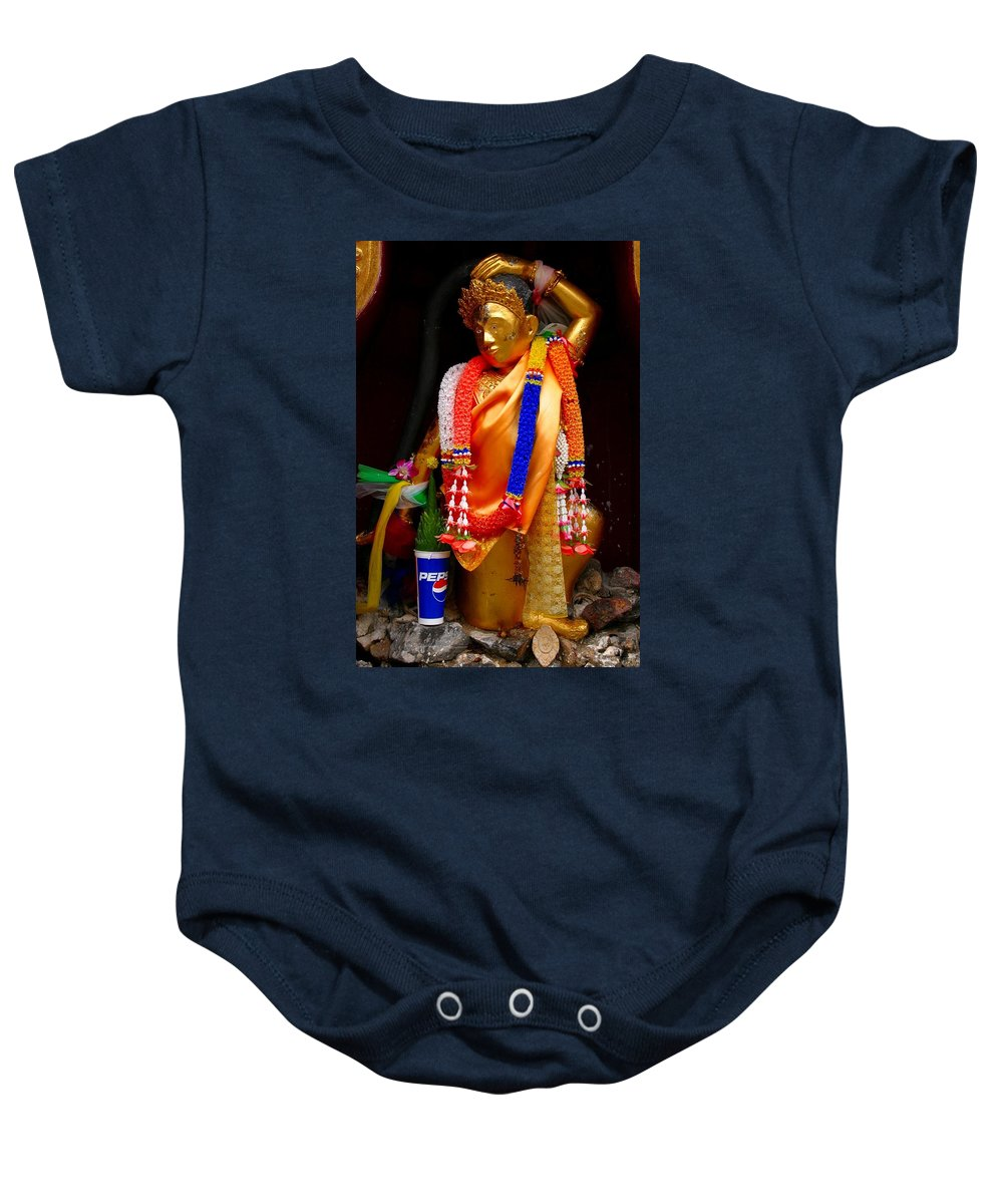 Buddism Baby Onesie featuring the photograph Buddism And Pepsi Shrine by Minaz Jantz