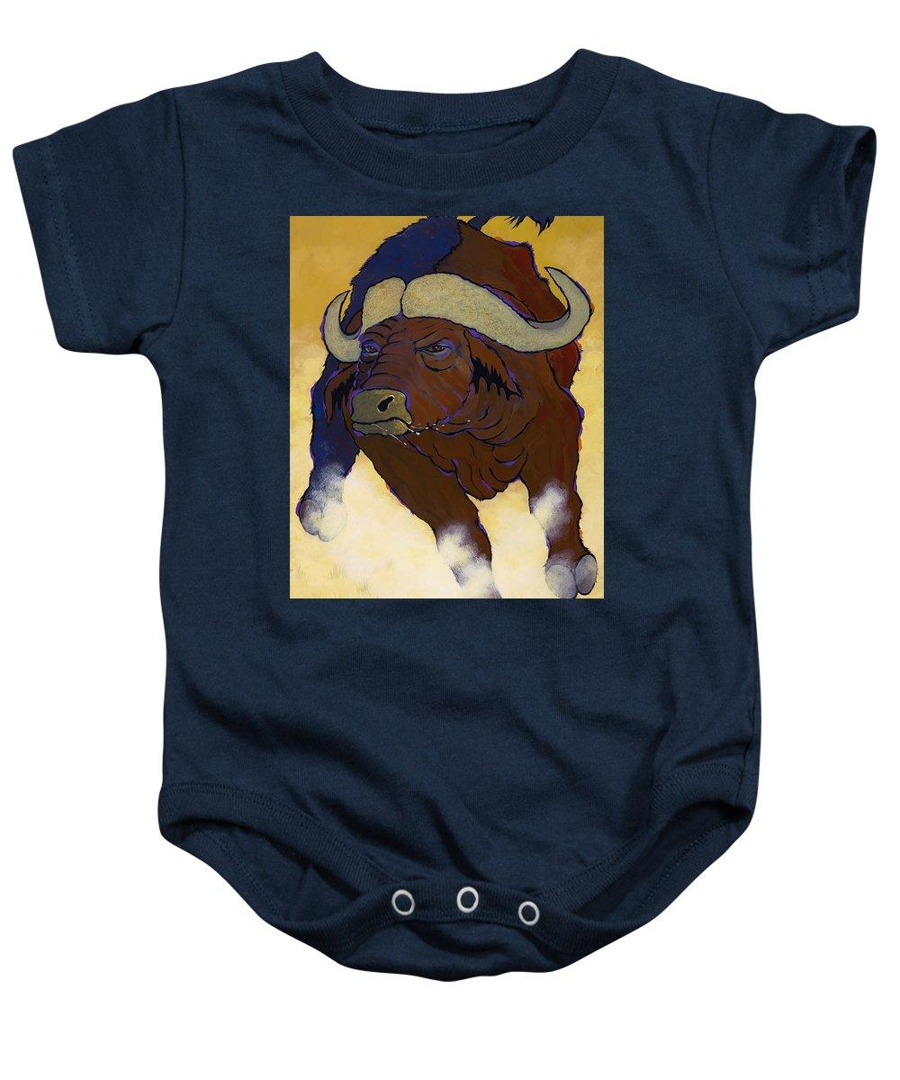 Capebuffalo Baby Onesie featuring the photograph Buffalo Fury by Ken Church