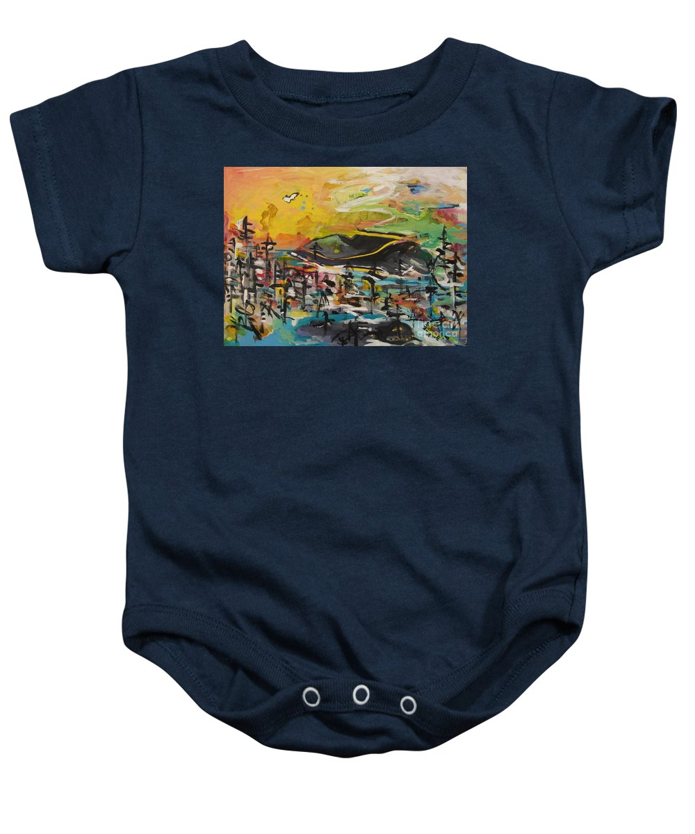 Abstract Paintings Baby Onesie featuring the painting Bummer Flat2 by Seon-Jeong Kim