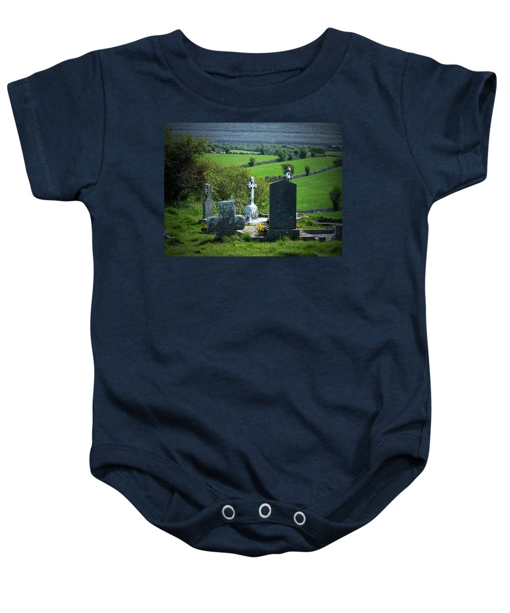 Irish Baby Onesie featuring the photograph Burren Crosses County Clare Ireland by Teresa Mucha