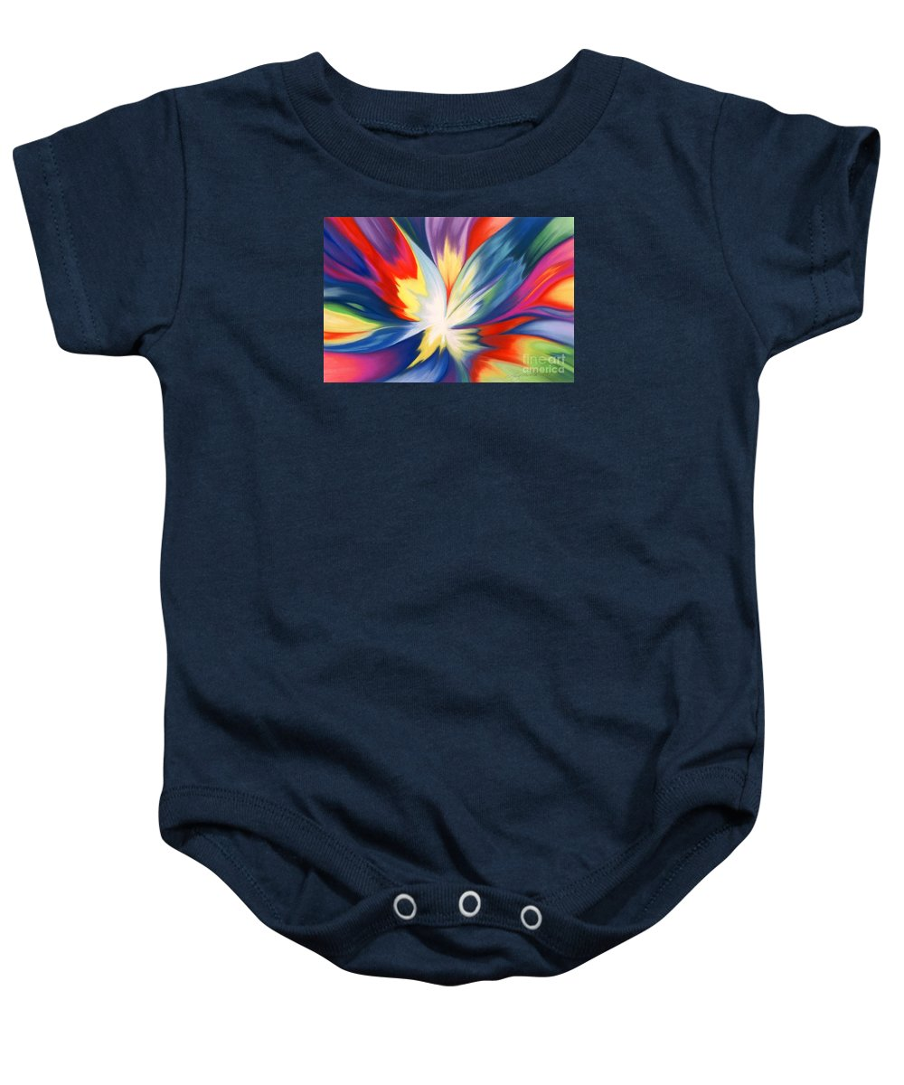Abstract Baby Onesie featuring the painting Burst Of Joy by Lucy Arnold