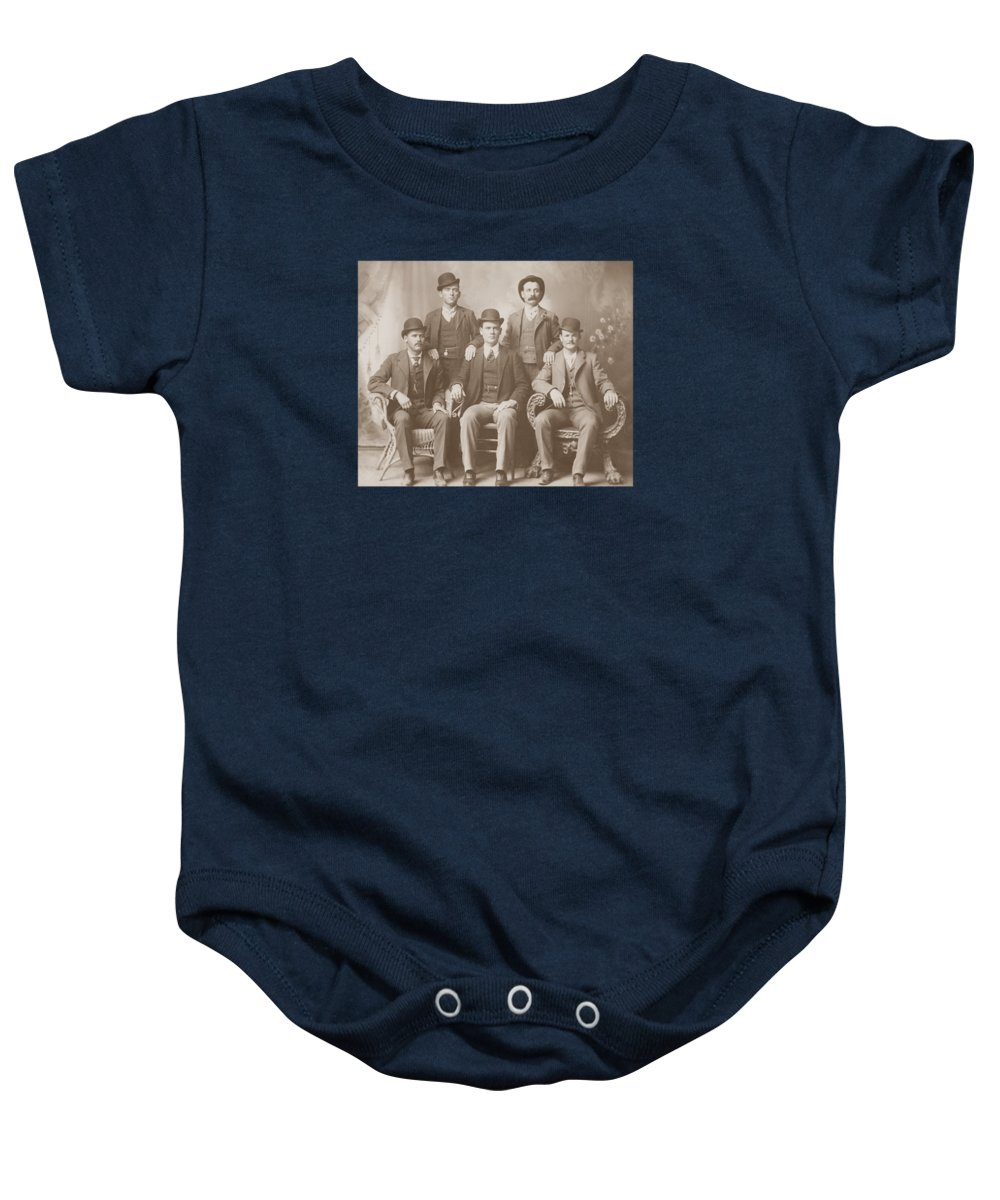 new arrival 09cff 6846c Butch Cassidy Baby Onesie featuring the photograph Butch Cassidy - Sundance  Kid - Wild Bunch by