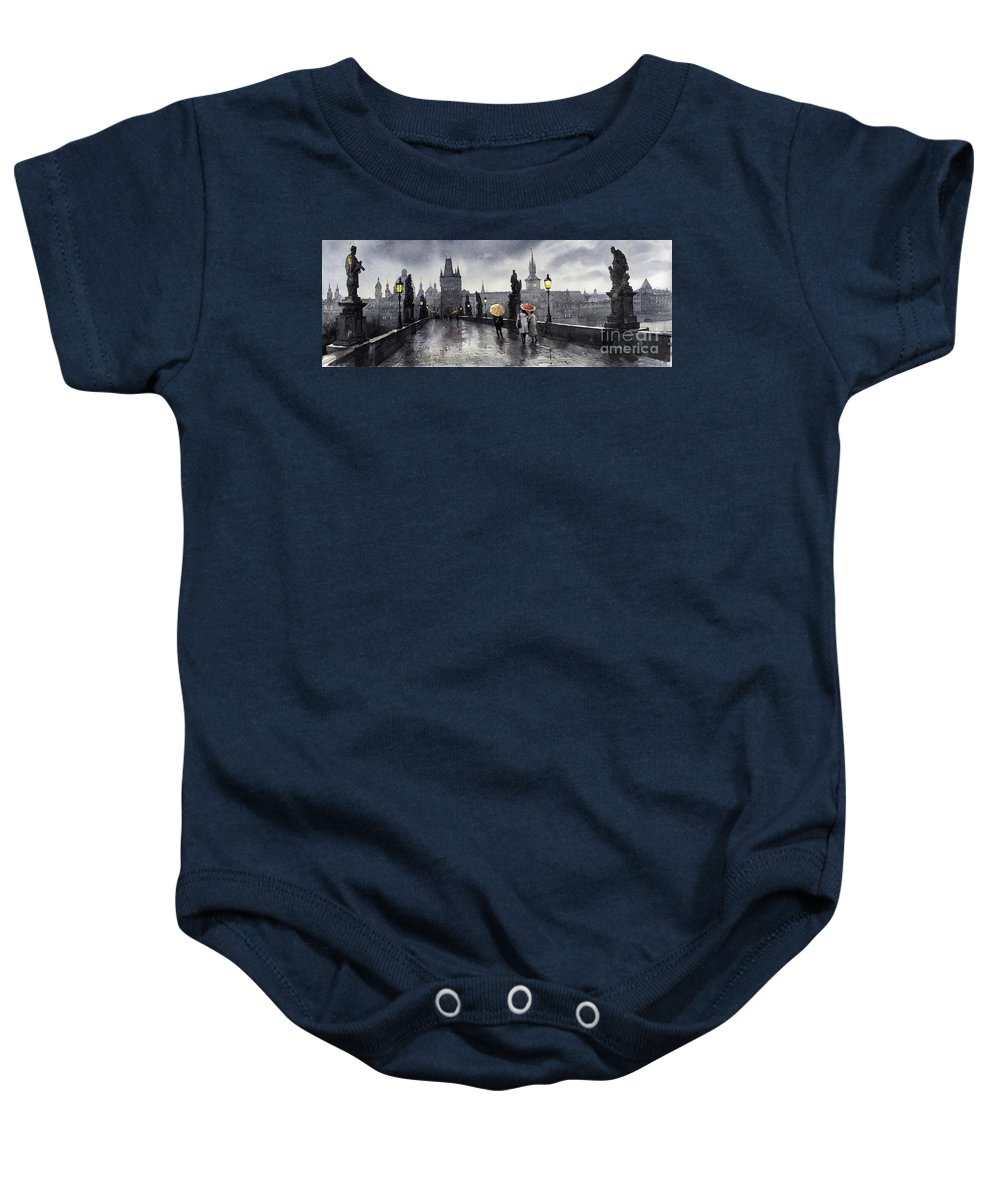 Prague Baby Onesie featuring the painting Bw Prague Charles Bridge 05 by Yuriy Shevchuk