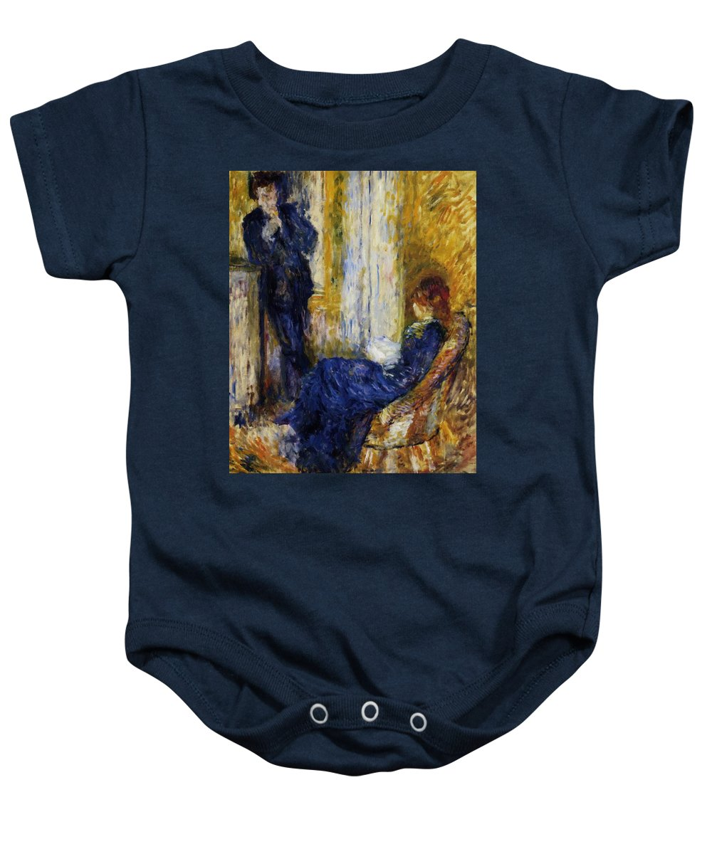 By Baby Onesie featuring the painting By The Fireside 1875 by Renoir PierreAuguste