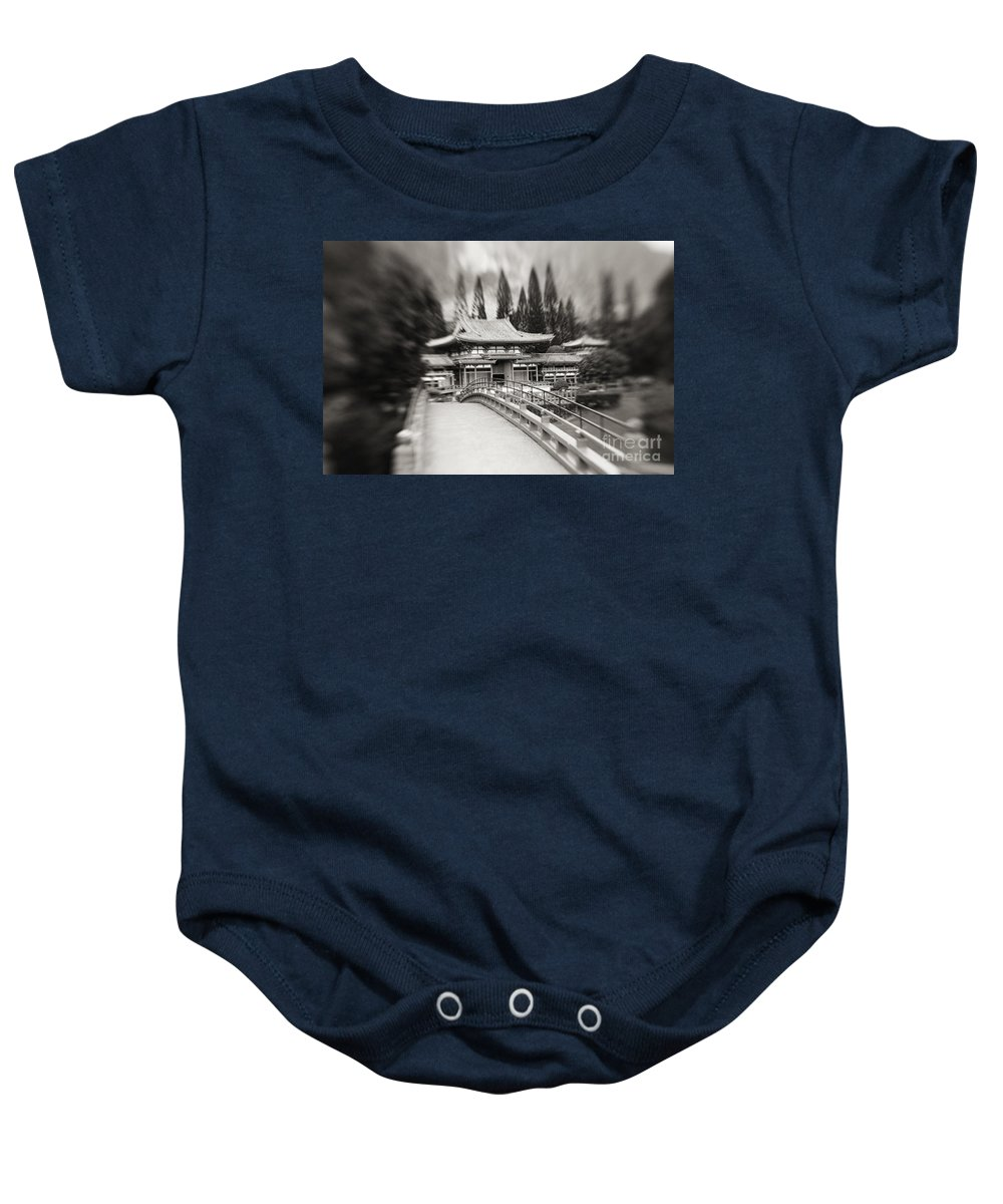 Ahuimanu Valley Baby Onesie featuring the photograph Byodo-in Temple by Ron Dahlquist - Printscapes
