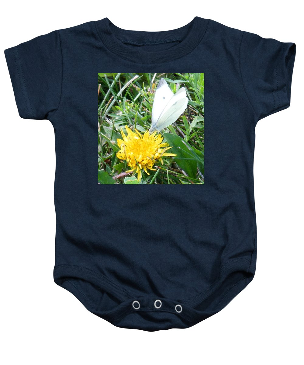 Cabbage-white-butterfly Baby Onesie featuring the photograph Cabbage White Butterfly by April Patterson