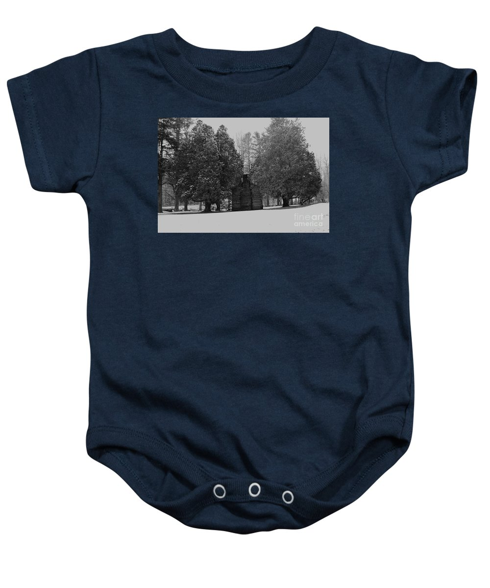 Snow Baby Onesie featuring the photograph Cabin Between The Cedars by Eric Liller
