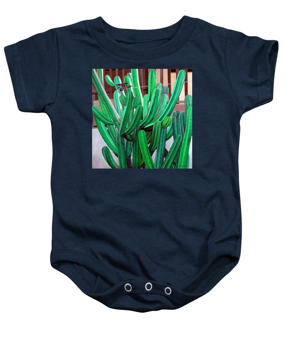 Landscape Baby Onesie featuring the painting Cactus Fly By by Snake Jagger