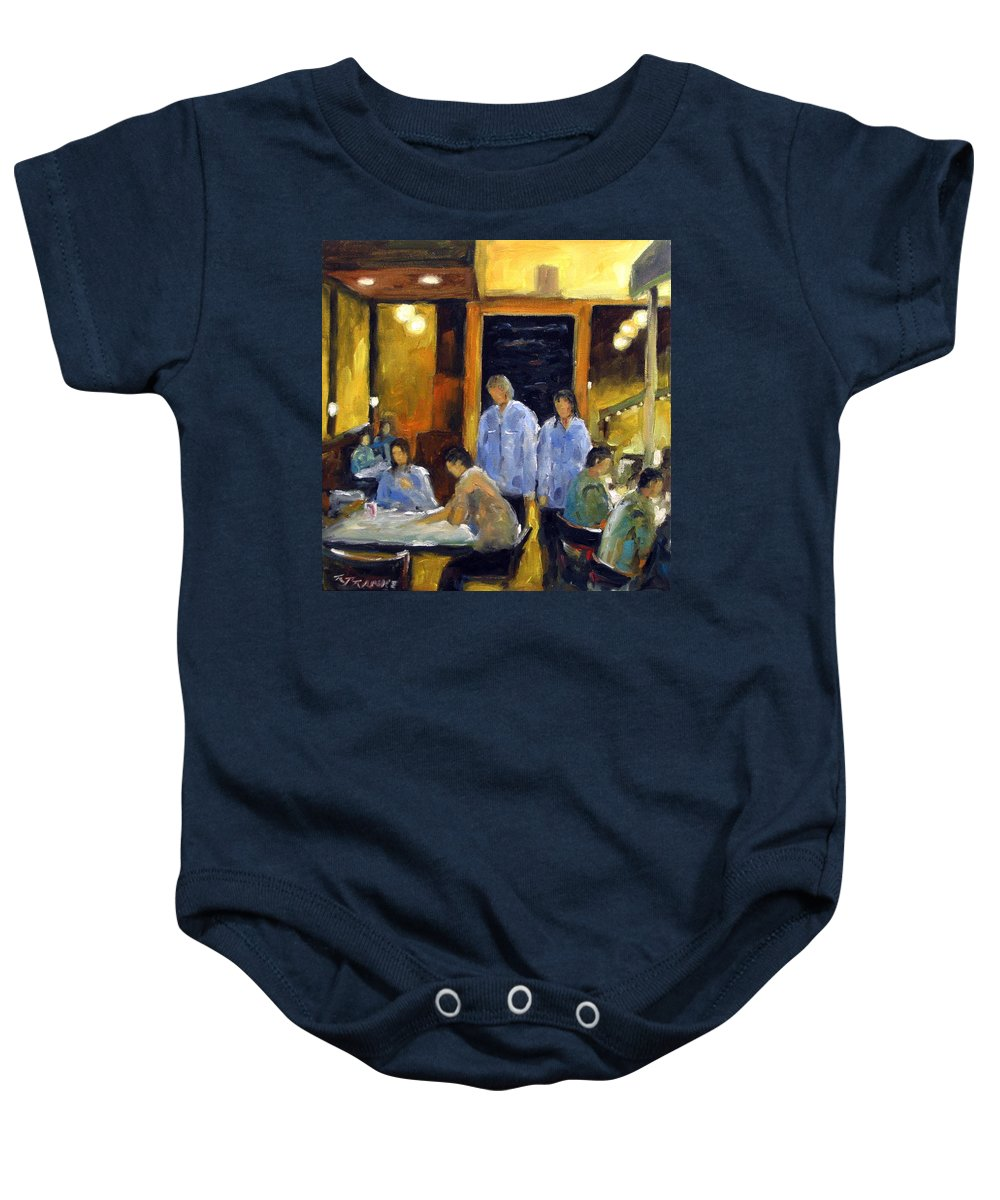 Urban Baby Onesie featuring the painting Cafe Des Artistes by Richard T Pranke