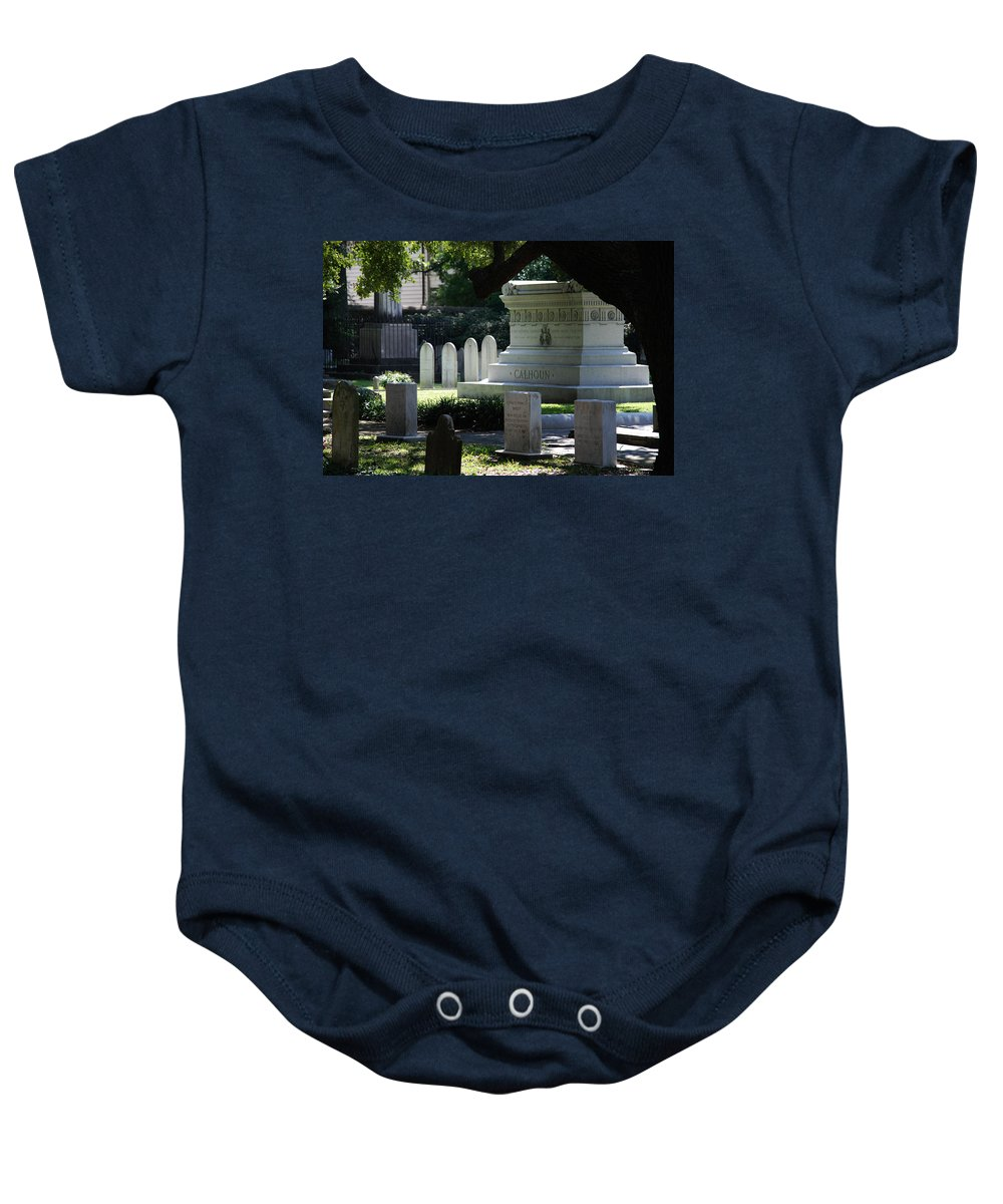 Photography Baby Onesie featuring the photograph Calhoun Is A Big Name In Charleston by Susanne Van Hulst