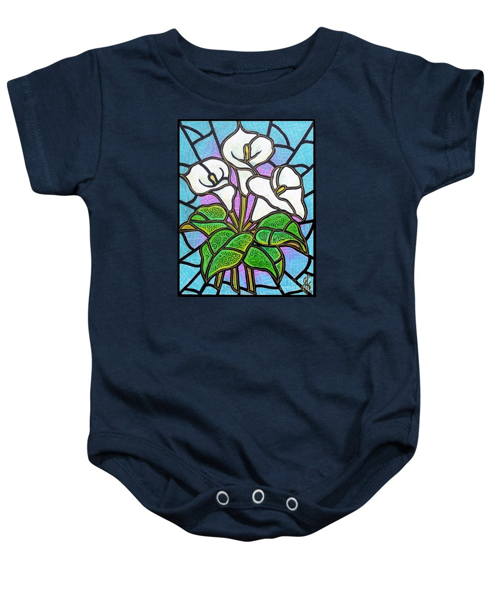 Flowers Baby Onesie featuring the painting Calla Lilies 3 by Jim Harris