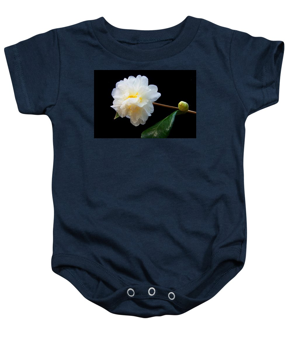 Camelia Baby Onesie featuring the photograph Camelia Trio by Laurie Paci