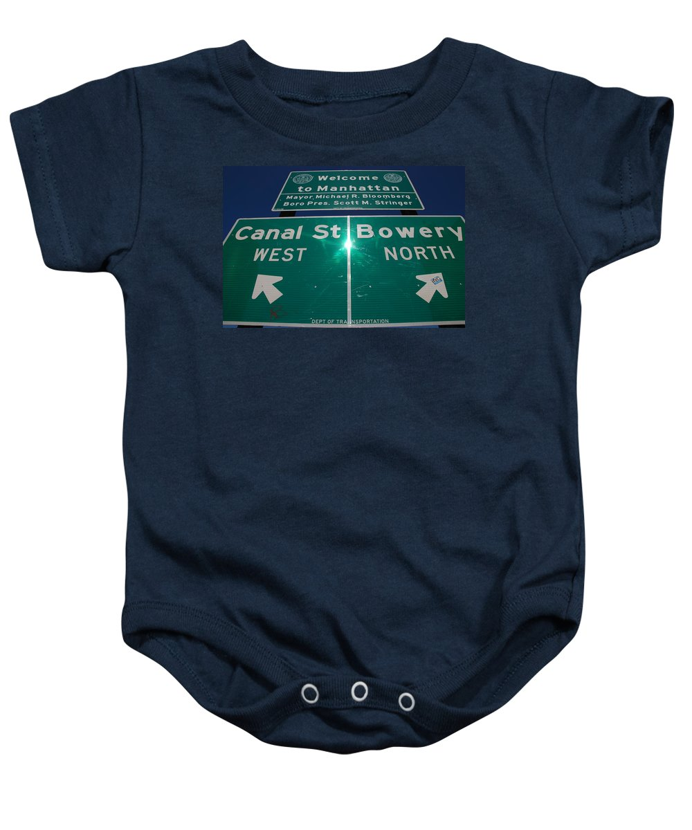 Pop Art Baby Onesie featuring the photograph Canal And Bowery by Rob Hans