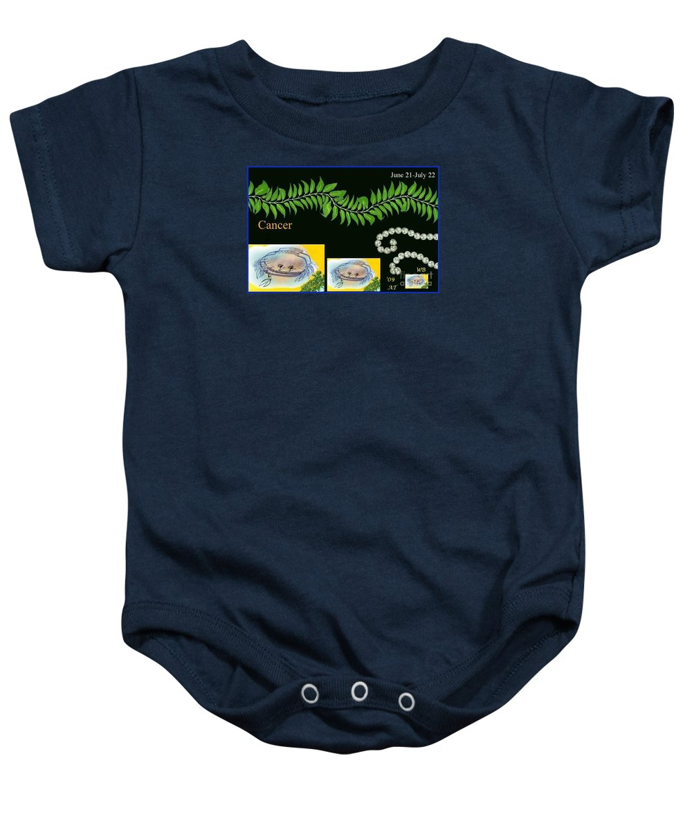 Cancer Baby Onesie featuring the digital art Cancer With William Baumol by The Art of Alice Terrill