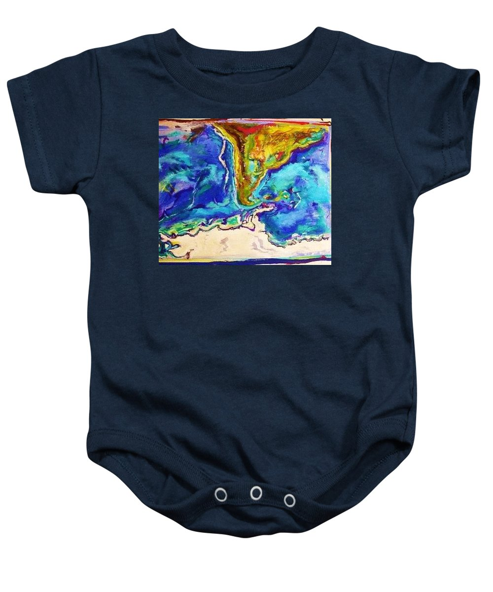 Maps Baby Onesie featuring the painting Cantinho by Nila Poduschco