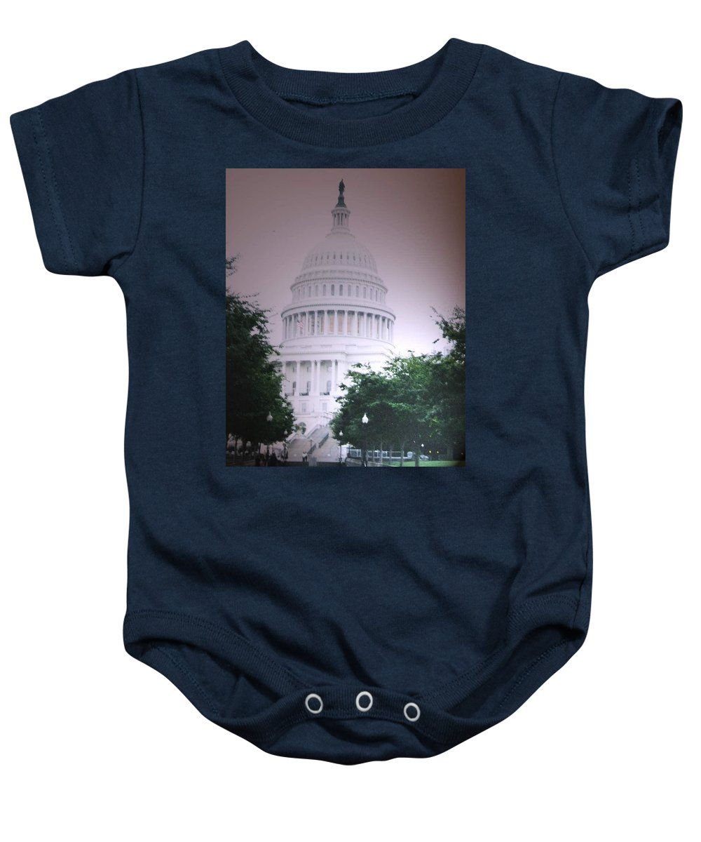 Capitol Baby Onesie featuring the photograph Capitol In Pink by Pharris Art