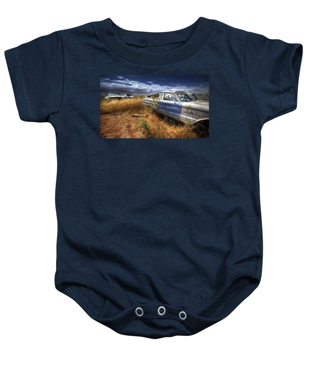 Cars Baby Onesie featuring the photograph Car Graveyard by Wayne Sherriff