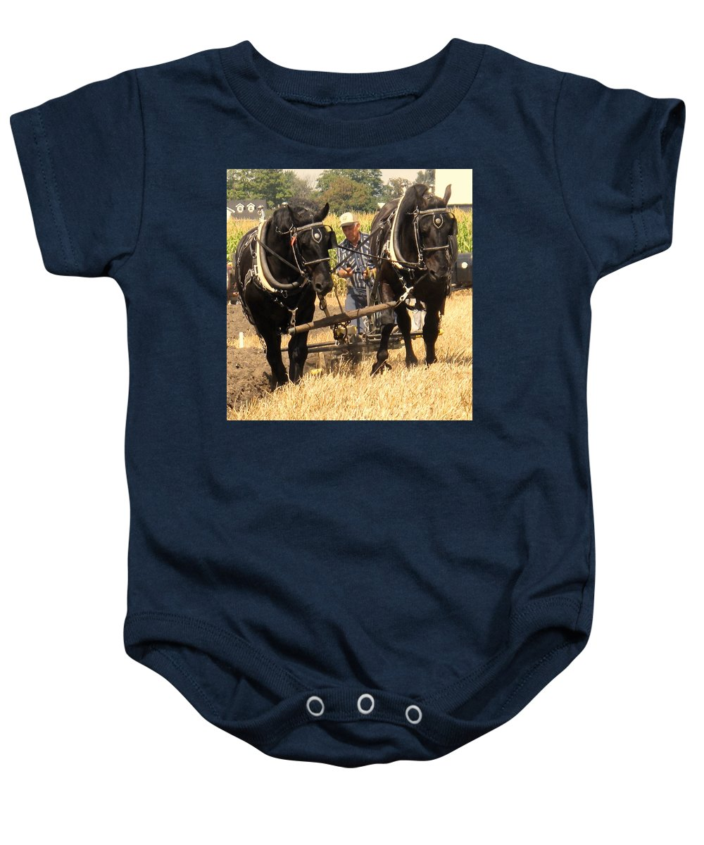 Horses Baby Onesie featuring the photograph Careful Careful by Ian MacDonald