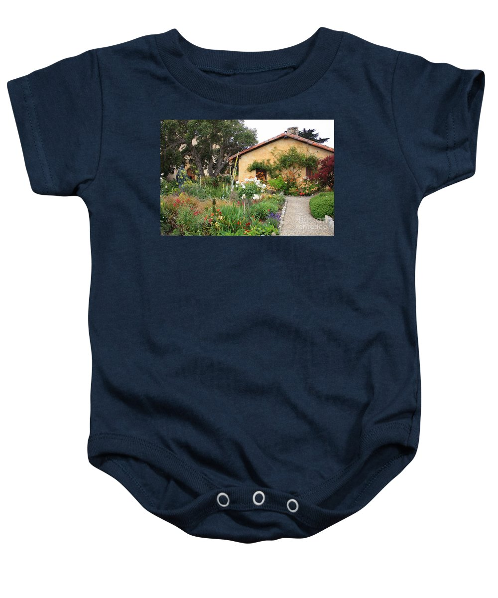 Carmel Baby Onesie featuring the photograph Carmel Mission With Path by Carol Groenen