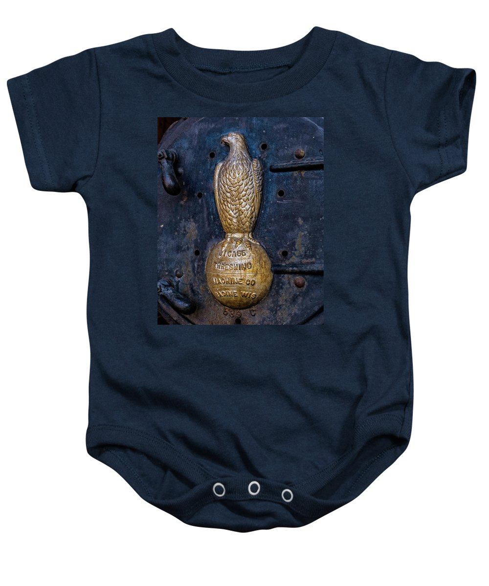 Farm Baby Onesie featuring the photograph Case Threshing Machine Eagle Emblem by Theresa Peterson