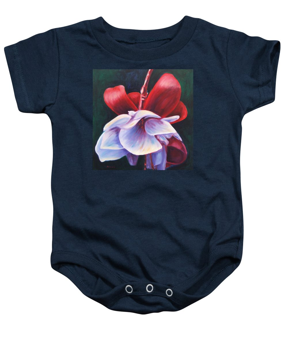 Fuchsia Baby Onesie featuring the painting Casey's Way by Shannon Grissom