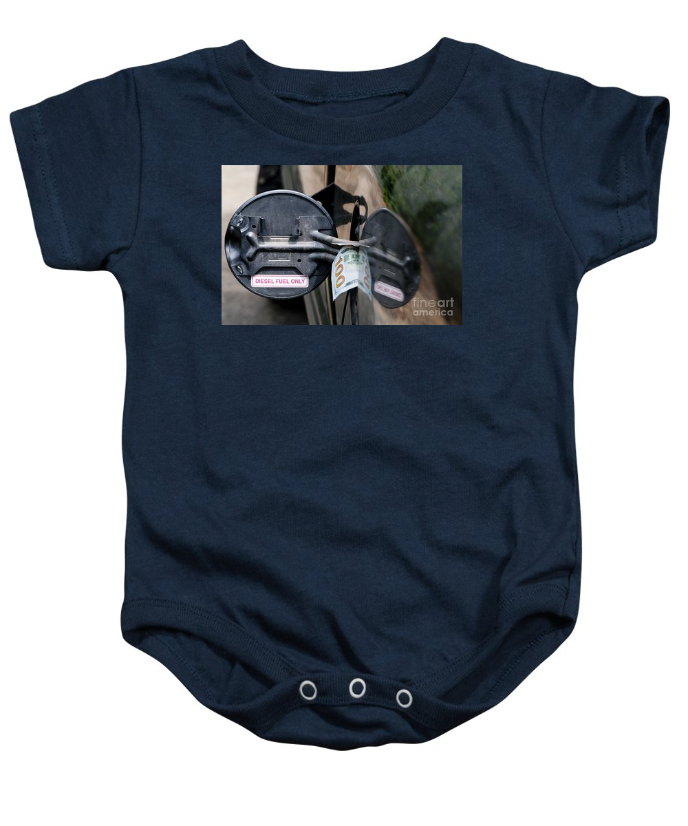 Expensive Fuel Baby Onesie featuring the photograph Cash In Truck Fuel Tank Fill Spout by William H. Mullins