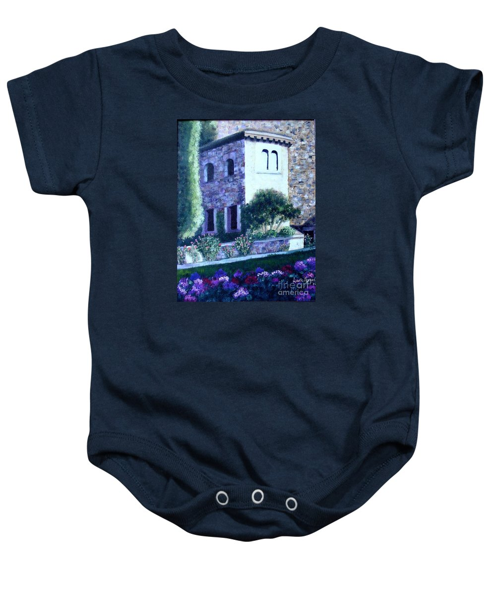 Italy Baby Onesie featuring the painting Castle Sestri Levante by Laurie Morgan