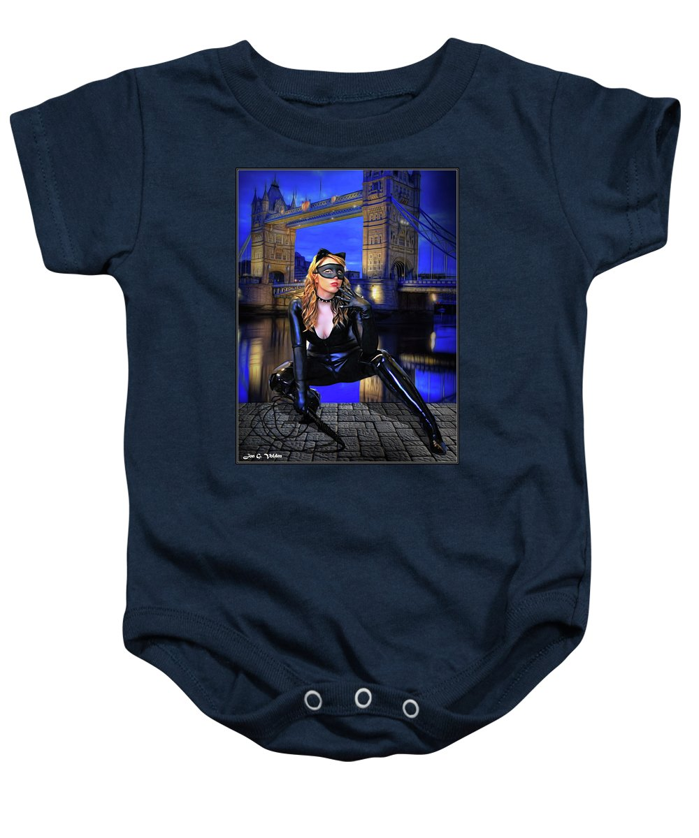Cat Woman Baby Onesie featuring the photograph Cat Woman In London by Jon Volden