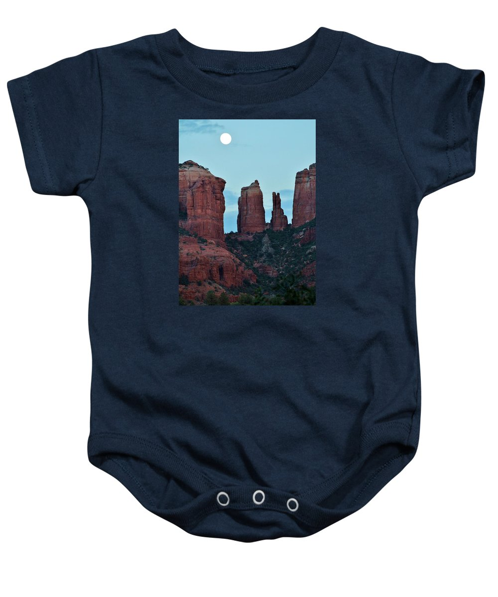 Cathedral Rock Baby Onesie featuring the photograph Cathedral Rock Moon 081913 H by Edward Dobosh