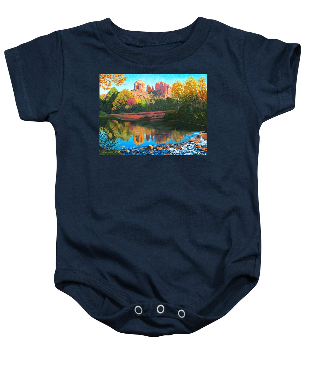 Oak Creek Baby Onesie featuring the painting Cathedral Rock - Sedona by Steve Simon