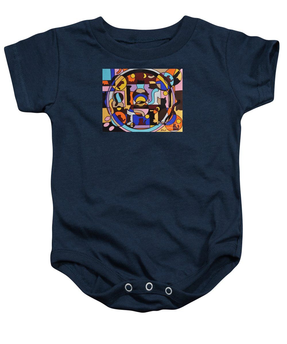 Cats Geometric Colorful Abstract Baby Onesie featuring the painting Cats In Focus by Reb Frost