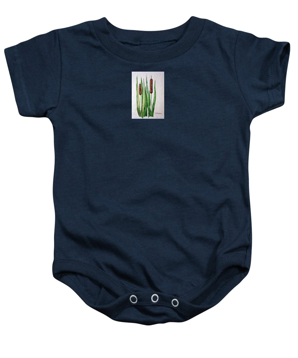 Cattails Baby Onesie featuring the drawing Cattails 2 by J R Seymour